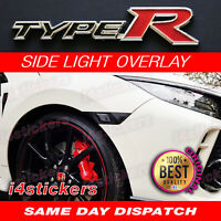 Honda Civic Type R FK8 Running light Decals stickers, black-carbon-smoke