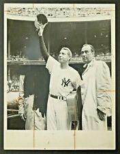Joe DiMaggio NY Yankees Baseball HOF 1961 Original Old Timers Day Wire Photo 7x9