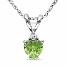 Amour 10k White Gold Peridot and Diamond Accent Heart Necklace