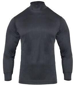 Performance Fabric Long Sleeve Moisture Wicking Mock Turtleneck Shirt Black 3150