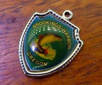 Vintage silver BROOKINGS HARBOR OREGON STATE SALMON TRAVEL SHIELD charm #E37