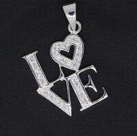 Damen Anhänger Love mit Herz - 925 Sterling Silber weiße Zirkonia Silberanhänger