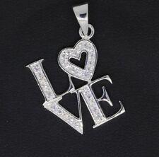Frauen Anhänger Love mit Herz 925 Sterling Silber weiße Zirkonia Halsschmuck NEU