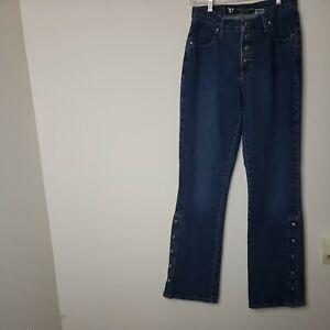 Rockies Juniors Women's Denim Blue Jeans 7 Low Rise Button Fly Calf Button Down