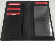 Men's Women's Black GENUINE LEATHER Checkbook Cover Holder Organizer WALLET