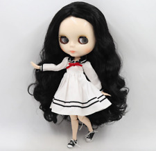 Long Curly Black Hair Blythe doll joint Light Skin body 1/6 BJD 4 Changing Eyes