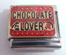 CHOCOLATE LOVER Italian Charm RED I Love Eating fits Classic Starter Bracelets