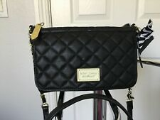 Betsey Johnson Small Black Quilted Organizer Crossbody Chain Detail Vguc Nice