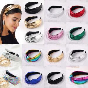 Women PU Alice Band Headband Bright Wide Twist Hairband Bow Knot Cross Headwrap