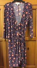 Donna Morgan Print Wrap Dress Purple And Peach Circles Stars Size 16 EUC