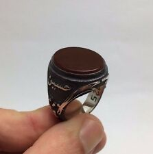Turkish Jewelry Zulfiqar Orange Agate 925K Sterling Silver Men's Ring