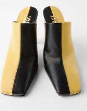 Nwt Zara Black/Yellow Leather Heeled Mules Size Eur40 Us9. Ref:2240/510
