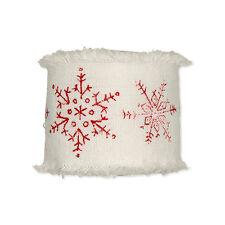 Ribbon Cream Cotton Red Snowflake Motif 45mm x 3m Roll