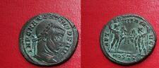 C1 MAXENCE Maxentius FOLLIS Ostie / DIOSCURES SUP Monnaie TREFLEE Patine Verte
