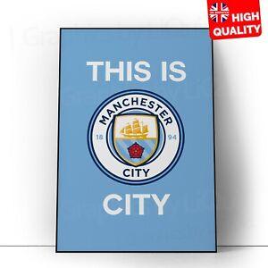 Manchester City Man City Football Club Fans Fifa Wall Art Poster A5 A4 A3 A2 A1
