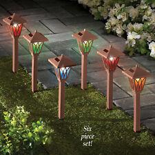 Set of 6 Solar Powerd Copper Look Color-Changing Garden Walkway Path Lights
