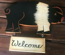 Country Wooden WELCOME Pig Sign