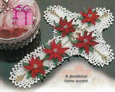 Cross With Poinsettia Flowers Christmas Digest Size Crochet Pattern Instructions