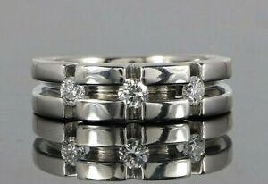 $2,475 Men's 14K Solid White Gold 0.45ct Round Diamond Wedding Band Size 8.5