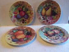 "4 Fruit Still Life By Godinger Plates 7 1/2""D Peaches, Apples, Plums & Pears"