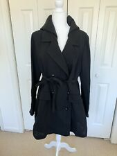 NWT Giorgio Armani Black Crepe Hooded Trench Coat 48 $3,395