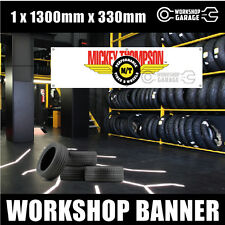 MICKEY THOMPSON - WINGS TYRES BANNER   1300mm x 330mm - REPRODUCTION
