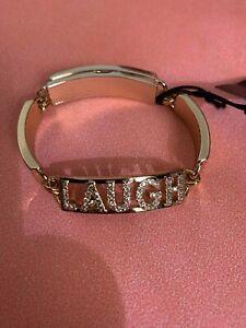 LOLA AND GRACE GOLD BRACELET BANGLE LAUGH MAGNETIC CLASP SWAROVSKI GEMS NAME TAG
