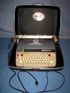 Vintage Smith Corona Electra 120 Portable Electric Typewriter w/Case Blue/Tan!