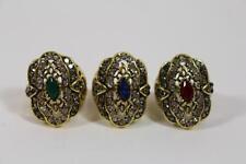 3 x großer Prunk Fingerring Damenring Ring Schmuckmetall Steinbesatz Barock Stil