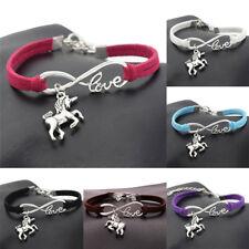 Popular Women Lucky Unicorn Horse Infinity Love Leather Bracelet Bangle Jewelry