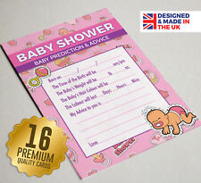 Baby Shower Prediction & Advice Party Game, 16 A6 Cards, PINK TOON Theme