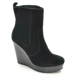 Womens Michael Kors Wedge Platform Ankle Boots 10 M Black Suede Bootie Shoes New
