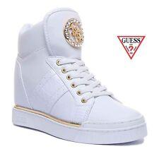 Zapatos de Mujer GUESS Zapatillas En Eco Piel Con Cuña Interior Cordones Blanco