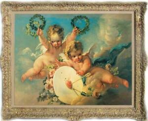 Hand painted Old Master-Art Antique portrait oil Painting boy angel on canvas