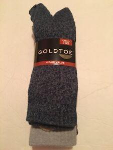 Goldtoe Men Socks Cushion Crew 4 Pack Size 6-12.5 Multi-Colors