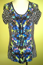 Ladies Womens Short Sleeve Stretch Blouse Top Shirt Casual Rockmans Size M 12