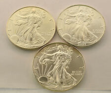 LOT OF 3 UNITED STATES WALKING LIBERTY COINS 1 OZ PURE SILVER 1999 2007 2015