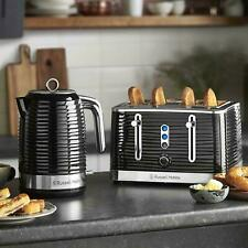 **NEW** Russell Hobbs Inspire Kettle and 4 Slice Toaster Set - Black 1.7 Litre