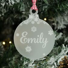 Personalised Christmas Tree Decoration. Engraved Name, Frosted Bauble Snowflakes