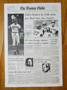 CARLTON FISK 2000 CANCELED w/ Induction Stamp Game 6 Newspaper Poster RED SOX