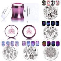 5Pcs Born Pretty Nail Art Stamping Plates+1Pc Stamper&Scraper Kits Christmas Set