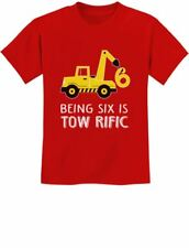 6th Birthday Tractor Construction Party Youth Kids T-Shirt 6 Years Old Gift