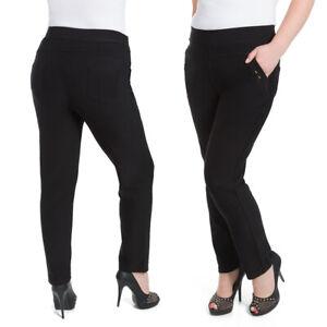 Übergröße Damen Elastische Hose Gerades Bein Hose Taschen 2XL-6XL KZY-W014