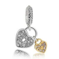 5PC Silver/Gold Plated Love Heart Rhineston Dangle Charms For Charm Bracelet