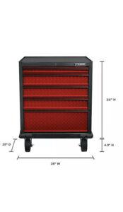 Gladiator Rolling Garage Cabinet 5-Drawer Welded Steel Organizer Red New