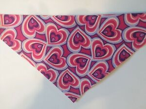 Dog Bandana, OVER THE COLLAR,clothes, pet, Size S,M,L,XL, Pink/Purple Hearts!
