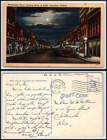 INDIANA Postcard - Columbus, Washington Street Looking North at Night K19