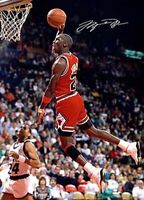 Michael Jordan Slam dunk in your face Basketball Signed Autograph A4 Poster