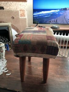 Large Stool/Footstool with Wooden Legs