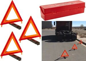3 Pack James King 1005 Roadside Safety Warning Triangles New Free Shipping USA
